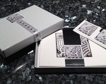 Personalized Note Cards with hand-drawn Zentangle® Inspired Art - Choose Your Letter