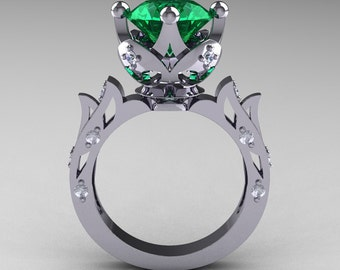 Modern Antique 14K White Gold 3.0 Carat Emerald Diamond Solitaire Wedding Ring R214-14KWGDEM