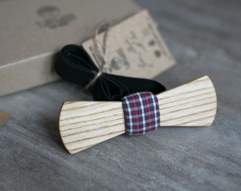 Wooden bow tie, wood bow tie, wooden bowtie, tartan bow tie, wedding Groomsmen bowtie  gifts, Boyfriend gift, Gifts for Him, Personalized
