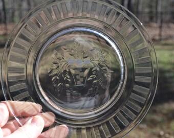 Vintage Etched Glass Plate Set of 7 Dessert or Salad Flower Basket Design PanchosPorch