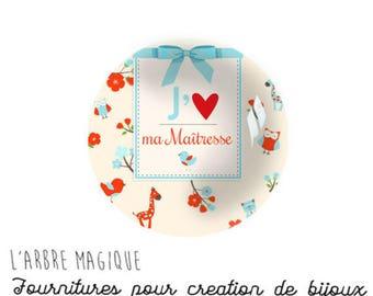2 cabochons glue mistress love heart message glass 16 mm - N991