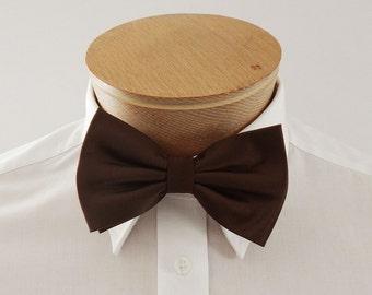 Mens Bow Tie Chocolate Brown Solid Pre Tied Bow Tie