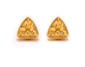Trillion Cut Studs - Gold Stud Earrings - Citrine Studs - Gemstone Stud Earrings - Prong Set Studs with Bezel Rim