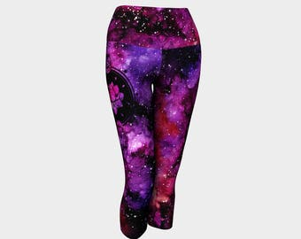 Galactic Lotus Boho Yoga Capri Leggings Funky Meditation Galaxy Spiritual Aerial Yoga Pants