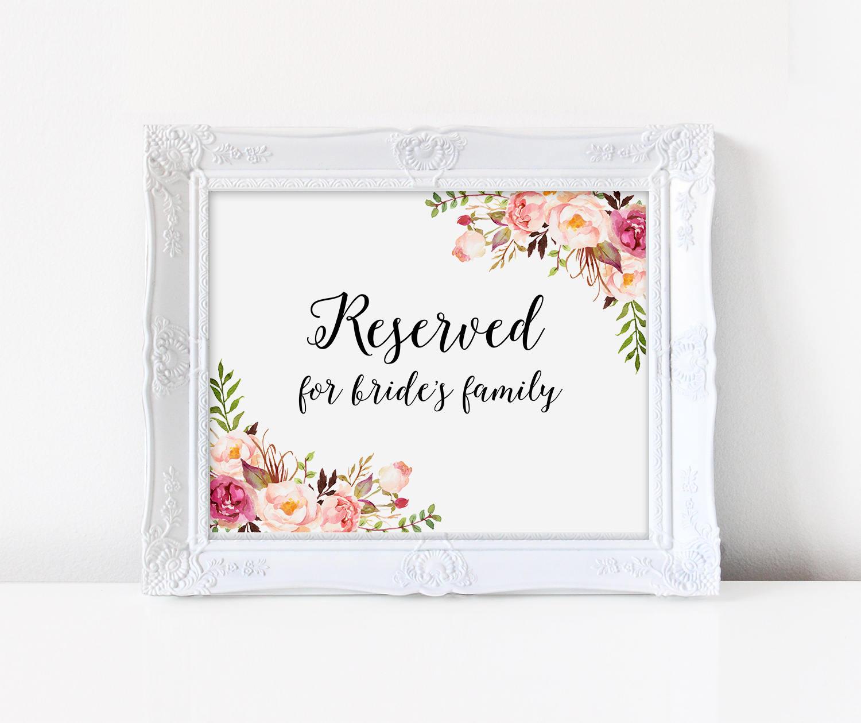 Para imprimir de boda reservada para muestra familia de la