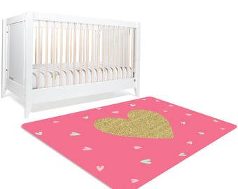 Pink Rug, Heart Rug, Nursery Rug, Baby Girl Room, Girls Rug,