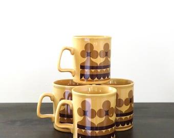 Vintage Seventies Mugs Mod Flower Mustard Brown Ironstone Staffordshire Potteries