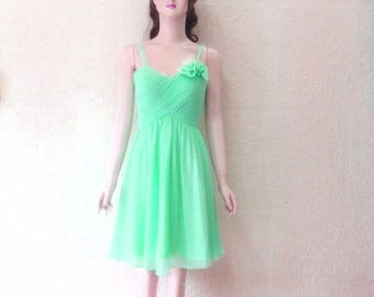Mint Green Bridesmaid Dress. Mint Green Evening Dress. Chiffon Knee Length Dress.