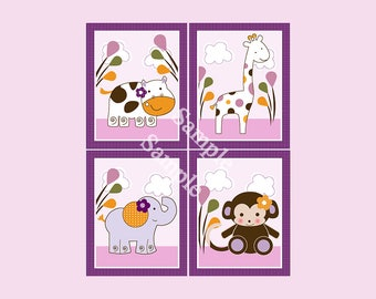 "Set of 4  Unframed ""Jacana/ Monkey/ Girl Animals/Elephant/Zebra"" 8x10 inch Linen Look Nursery Wall Art Prints Baby Children Kids Decor"