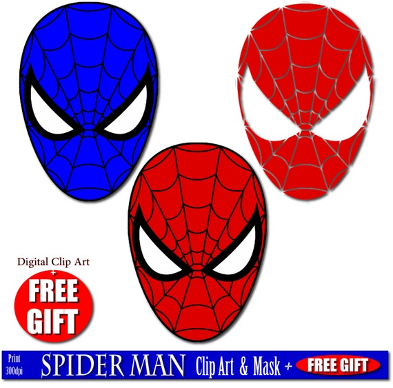 Digital clip art spiderman mask superhero party masks Clipart printable mask spider man birthday spiderman party favor spiderman costume DIY