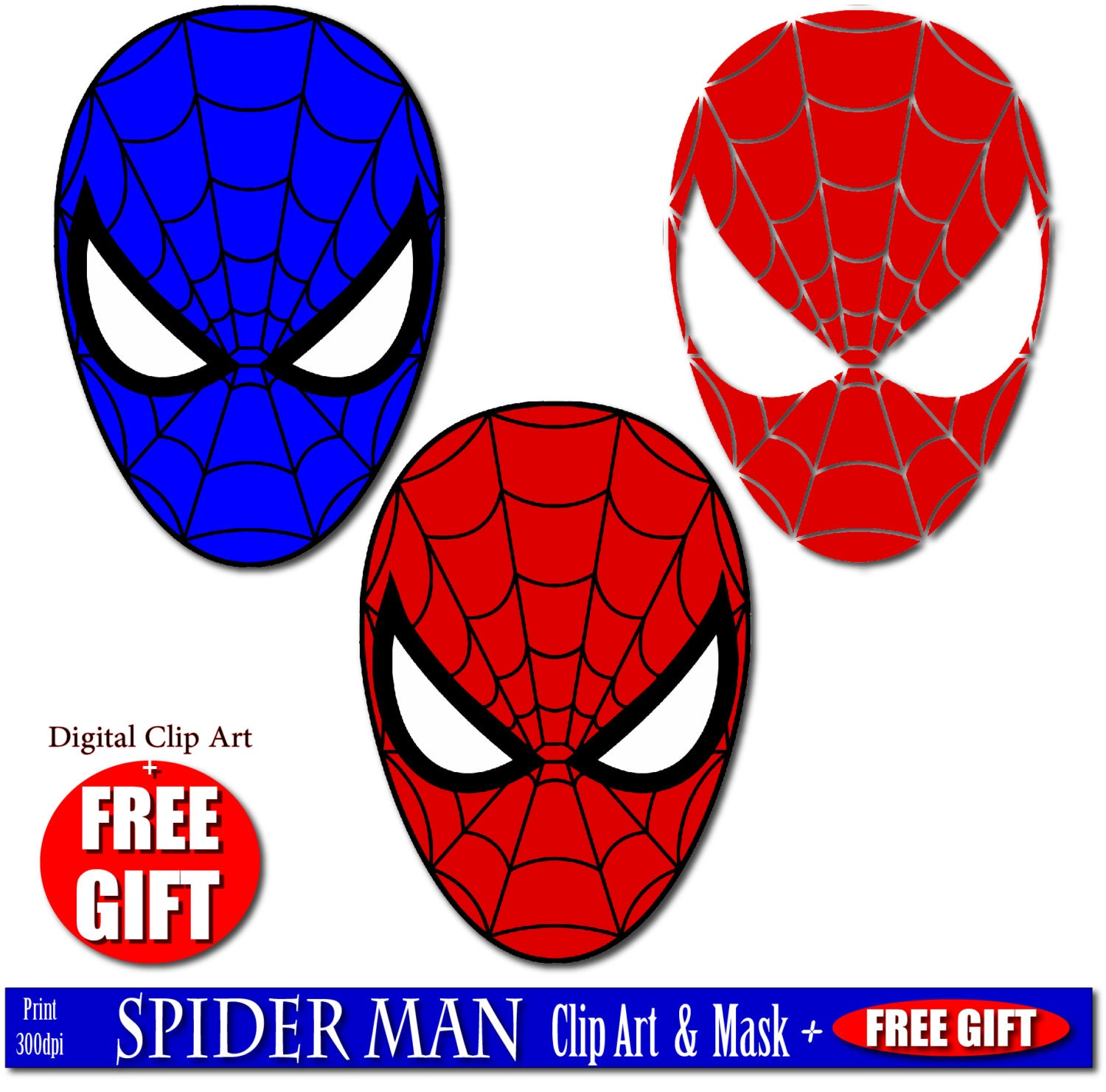 digital clip art spiderman mask superhero party masks clipart rh etsystudio com free spiderman vector clipart free spiderman clipart
