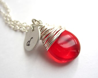 Handmade Birthstone Necklace with Initial Red Necklace Wire Wrapped Pendant Wire Wrapped Jewelry Handmade