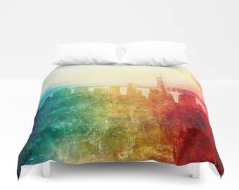 New York Duvet Cover, Abstract Manhattan bedding, unique design, modern, urban comforter cover, bedroom, city landscape bedding, dorm, teen