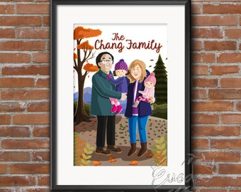 Customized Family Portrait Whole Body Printable