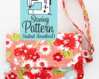 Fold Over Zip Wristlet PDF Sewing Pattern | Sew a foldover style clutch purse handbag with a zipper closure and wristlet strap.