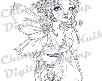 Scent of Spring - Instant Download Digital Stamp /Kimono Rose Daisy Flower Butterfly Fantasy Fairy Girl by Ching-Chou Kuik