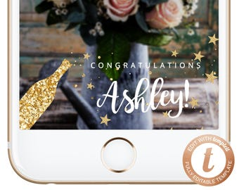 INSTANT DOWNLOAD Snapchat Geofilter Graduation Snapchat Filter Graduation Party Geofilters Gold Stars Graduation Filter Gold Champ Templett