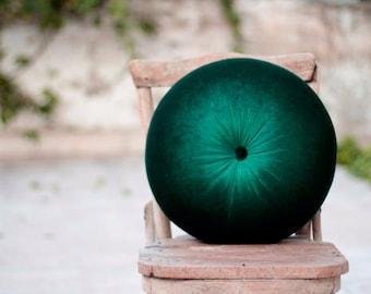 """Emerald Green & Deep green velvet round pillow16"""""""