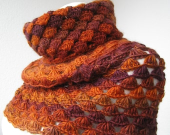 Crocheted wool blend cowl, fall colors soft neckwarmer, women's cowl size S made to order