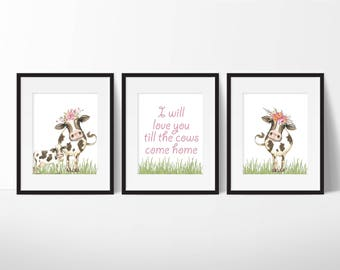 Cow Nursery Decor - I will love you till the cows come home - Cow Nursery Art Print - Baby Cow Nursery - Farm Animal Nursery Art