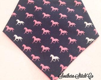 Adjustable Bibdana in Riley Blake Pink Derby Horses