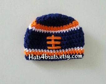 Baby Denver Broncos Hat, Crochet Broncos Hat, Denver Broncos Crochet  Football Hat, Newborn Broncos Photo Prop, Crochet Football Hat, Baby