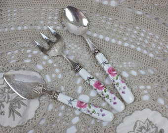 Porcelain Cutlery Set, Sheffield Cutlery, 3-Piece Set, Fork, Spoon & Spreader, Vintage Cutlery, England, c1970s, Silverware Flatwear