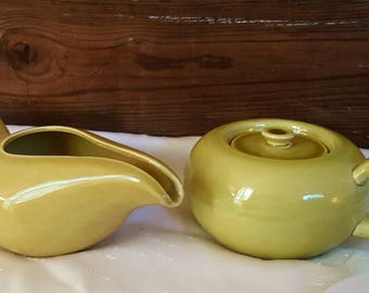 Vintage Russel Wright Steubenville Pottery Creamer and Sugar Set Chartreuse