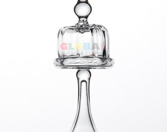 Dollhouse Miniatures Glass Mini Cylindrical-Shaped Cake Cover + Stand