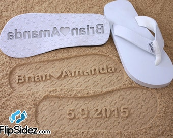 Custom Bridal Flip Flops for Beach Weddings - Personalize With Your Own Design *check size chart, see 3rd product photo*