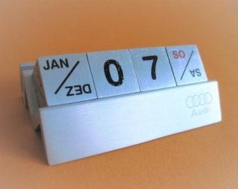 Vintage Aluminum space age-style 1980s Audi perpetual desk calendar in German