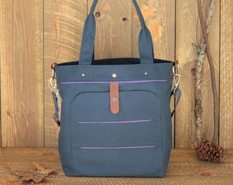 Navy blue Canvas Diaper Bag, Tote Diaper Bag,