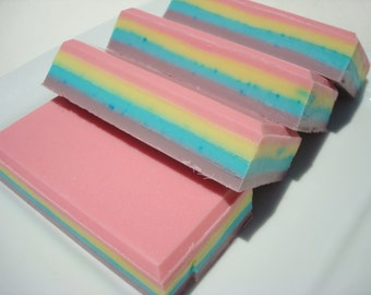 BEST SELLING SOAP! Fabulous Unicorn Soap - Rainbows and Unicorns - Rainbow Stripe in Pink, Purple, Yellow, Blue - Homemade Soap, Bar Soap