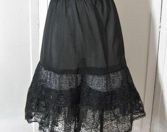 50s 60s Vintage Black Crinoline Petticoat, Drop Waist Nylon, Soft Sheer Lace & Tulle, Layered Full Skirt Half Slip, Small