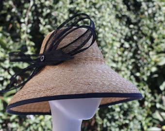 "Natural Straw Hat--Black Trim--""Vandela"""