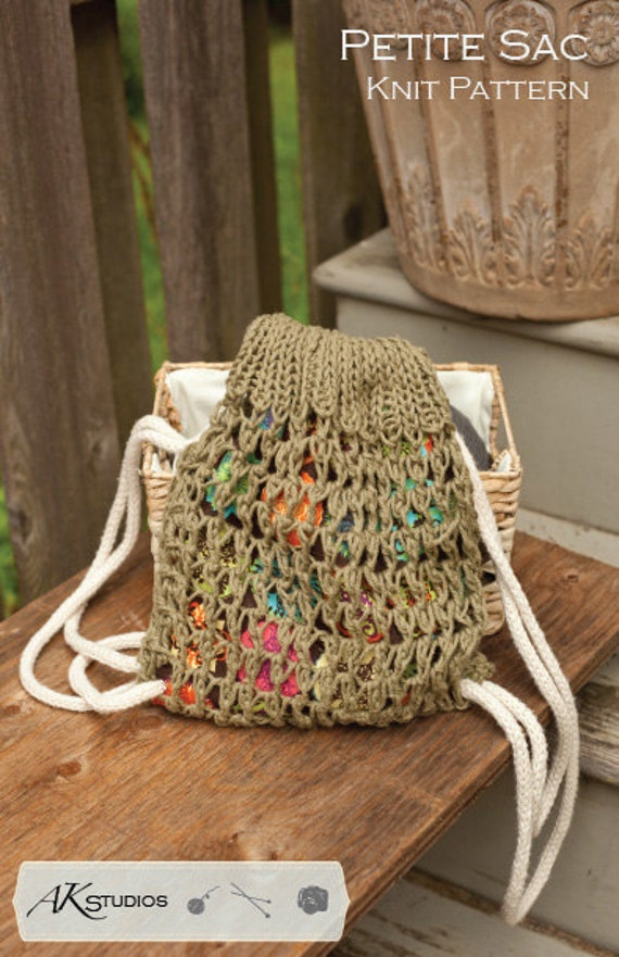 Knitting Pattern Draw String Bag Knit And Sewn 10 Tall From