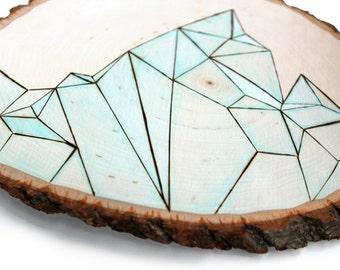 the original tree slice modern art, one of a kind - abtract minimalist geometric mountain / iceberg / tree bark rustic / mint / aqua