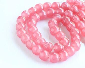 Vintage Glass Beads, Miriam Haskell Cherry Brand , 8 mm baroque, Shabby chic beads, Dark Pink Bubblegum (25) beads