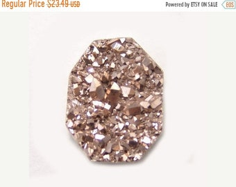 SPRING SALE 50% Druzy Cabochon Wire Wrap Focal Gemstone Rose Gold 1287