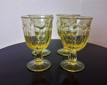 Vintage Canary Yellow Aperitif Stemmed/Footed Barware Glasses 6oz Fluted Design