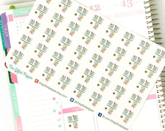 PRINTED Study stickers. Study, research, work stickers. For Erin Condren Planner. Stickers, calendar stickers (Item #036)