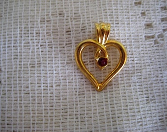 Vintage Heart Shaped Tie Tack or Lapel Pin with Ruby