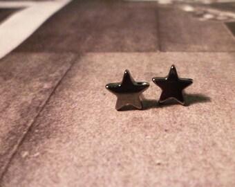 Gunmetal Star Stud Earrings