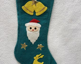 Vintage Christmas Stocking in Green Felt with Appliques
