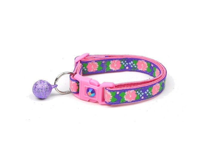 Flower Cat Collar - Pink Carnations on Purple - Small Cat / Kitten Size or Large Size