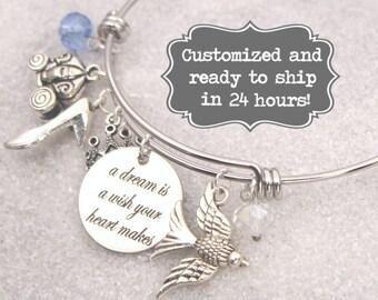 Cinderella Engraved - A Dream Is A Wish Your Heart Makes Bracelet DISNEY Inspired, Bracelet, Custom Name Charm Bracelet, Adjustable Bangle