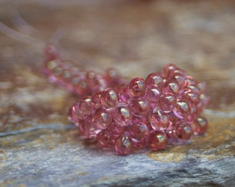Czech Glass Teardrop Beads - 5x7 mm 40 Pieces - transparent pink with luster finish