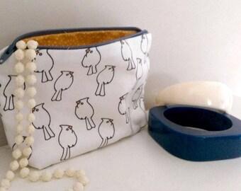 Pretty purse accessory pouch ,Bird repeat printed fabric make up pouch