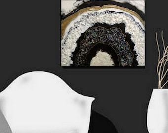 Original Abstract Textured Fluid Agate Slice Painting contemporary office wall art Black , White and Gold by Holly Anderson FREE USA SHIP