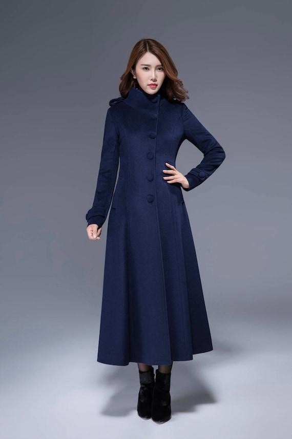 Very Woman wool coat navy coat warm winter coat wool coat TL71